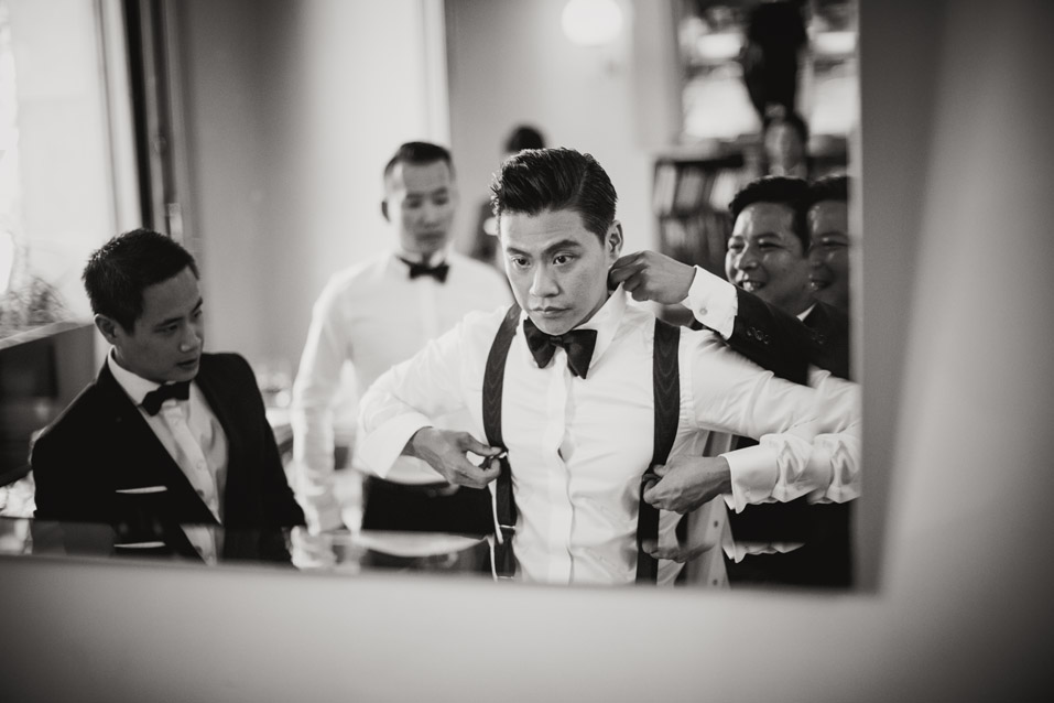 dressing the groom