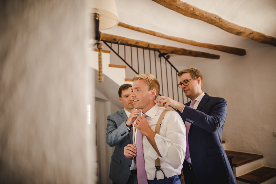 helping the groom
